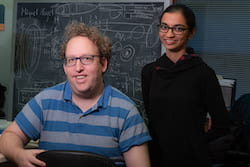 Aryeh Warmflash, left, and Sapna Chhabra led a Rice University team that discovered embryonic stem cells begin to self-organize when they sense interacting waves of molecular signals that help them start — and stop — differentiating into patterns. (Credit: Jeff Fitlow/Rice University)