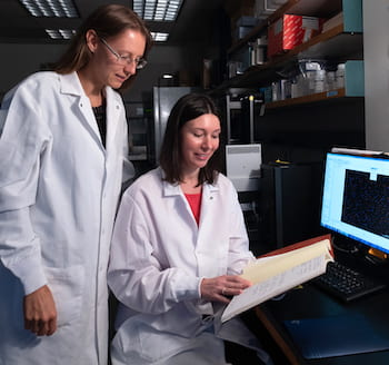 Rice University bioscientists Natasha Kirienko, left, and Svetlana Panina found a cocktail of cancer-fighting mitocan molecules and a glycolytic inhibitor is effective at fighting acute myeloid leukemia. The discovery could lead to better personalized treatment of the disease. (Credit: Jeff Fitlow/Rice University)