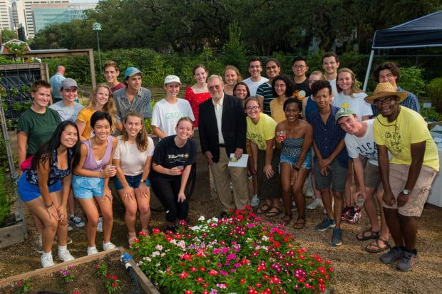 Bob Novak and his current gardening students led tours of the garden following the dedication ceremony. (Photo by Jeff Fitlow)