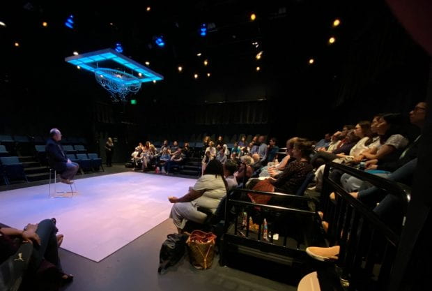 "Audience members at the Oct. 4 performance of ""The Hard Problem"" at Main Street Theatre stayed for a special post-production talk by Jeffrey Kripal, the J. Newton Rayzor Chair in Philosophy and Religious Thought and associate dean of humanities at Rice."