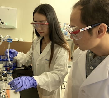 Rice University graduate student Xiaoyin Tian, left, and postdoctoral researcher Jing Zhang led the effort to develop an inorganic catalyst for ammonia based on doped, two-dimensional molybdenum disulfide. (Credit: Lou Group/Rice University)