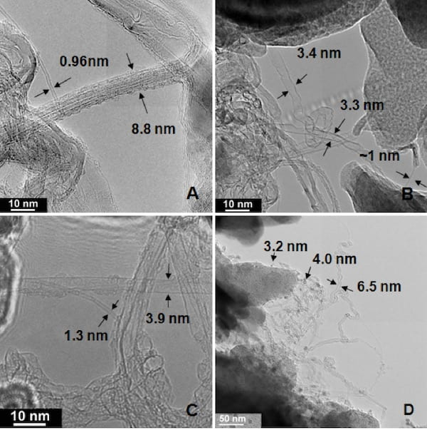 Transmission electron microscope images of raw carbon soot grown on kaolin-sized newsprint shows (a) roped single-walled carbon nanotubes, and (b) collapsed, (c) folded and (d) twisted nanotubes. (Credit: Bruce Brinson/Rice University)