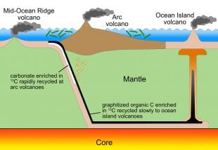 A figure that illustrates how inorganic carbon cycles through the mantle more quickly than organic carbon, which contains very little of the isotope carbon-13.