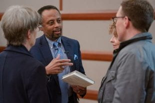 Lewis, former president of the Mellon Foundation, visited with faculty and staff during his visit to Rice.