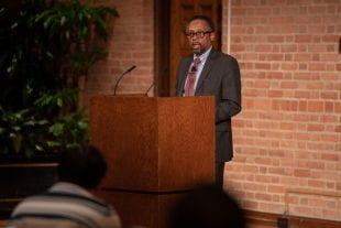 Author, social historian and educator Earl Lewis was this year's guest at the three-night Campbell Lecture Series. He spoke in the Grand Hall of the Rice Memorial Center Nov. 13.