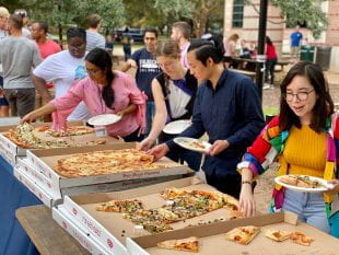 "he Office of Graduate and Postdoctoral Studies wound down its annual ""GRADitude Week"" with its popular pizza party and cake walk."