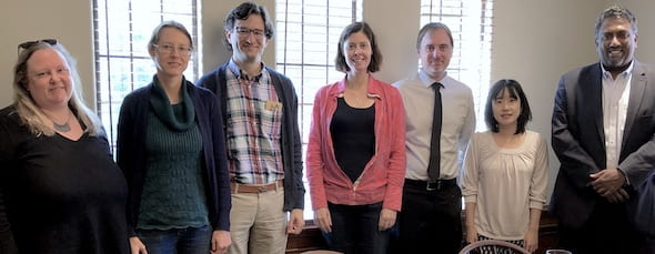 Rice's Institute of Biosciences and Bioengineering announced this year's Hamill Awards on Nov. 19. At the ceremony, from left, Jane Grande-Allen, Natasha Kirienko, IBB Faculty Director Zachary Ball, Christy Landes, Todd Treangen, Akane Sano and IBB Executive Director Paul Cherukuri. Photo by Kimberly M'Carver
