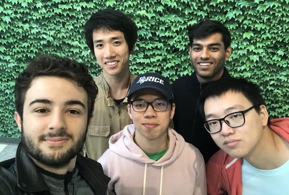 Rice's IPT USA champions, from left: Ayush Sachdeva, Kevin Zheng, Poom Kritpracha, Matheus Barbosa and Xinyun Liu. Photo courtesy of Matheus Barbosa