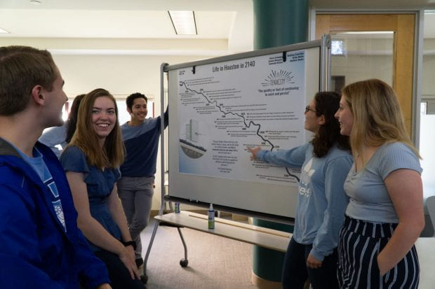 "ENST 100 students give final poster presentations Dec. 3, 2019 on the topic of ""Life in Houston in 2140."""