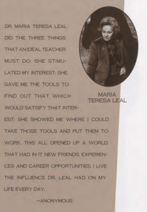 """An anonymous student's tribute to professor María Teresa Leal from the 1994 Sallyport called her an """"ideal teacher."""""""