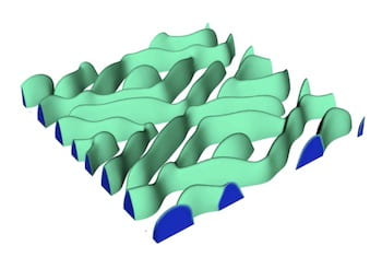 "A 3D model by Rice University materials scientists shows the phase evolution of a delithiating lithium iron phosphate cathode undergoing rapid discharge. The ""fingerlike"" shape adds stress to the system that researchers suspect can lead to cracks in the cathode that degrade the battery. (Credit: Mesoscale Materials Science Group/Rice University)"