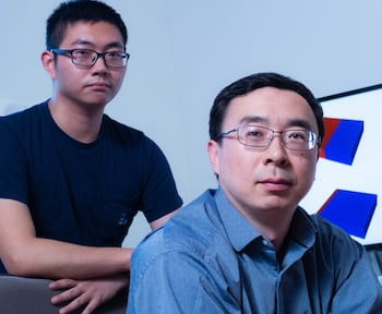 Rice graduate student Kaiqi Yang, left, and materials scientist Ming Tang determined that the fast charge and discharge of some lithium-ion batteries with intentional defects degrades their performance and endurance. (Credit: Jeff Fitlow/Rice University)