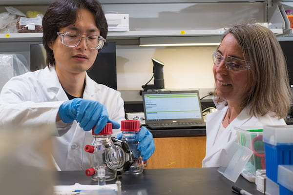 Rice University graduate student Lin Su, left, and Caroline Ajo-Franklin, a professor of biosciences, developed a method to increase the bioelectronic performance of genetically engineered bacteria. (Credit: Jeff Fitlow/Rice University)