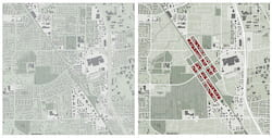 Before-and-after drawings show the development of a transportation hub with high-rise structures, part of Rice University architecture student Vivian Schwab's thesis on how the city of Santa Rosa, California, could respond to the threat of fires from nearby foothills. The 2017 Tubbs Fire burned thousands of structures in the region and killed an estimated 22 people. (Credit: Vivian Schwab)