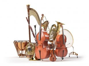 Orchestra musical instruments isolated on white. 3d render. Photo by 123rf.com.