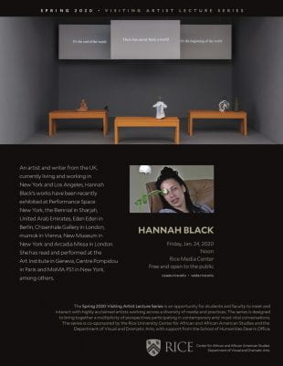 The Spring 2020 Visiting Artist Series will kick off with Hannah Black on Jan. 24.