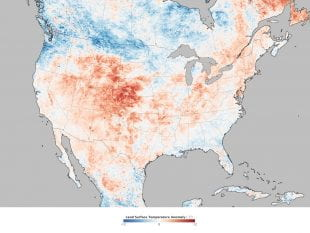 A map based on U.S. surface temperatures measured by NASA's Terra satellite during a heat wave June 17-24, 2012.