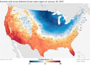 daytime high temperatures on January 30, 2019
