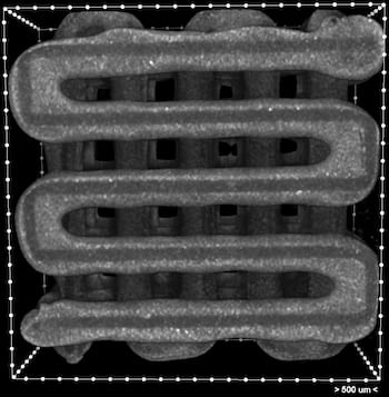 A microCT image shows a 3D-printed scaffold with clear grooves meant for the deposition of live cells.. The grooved lines hold ink deposited during the printing process. Scaffolds can be made in any shape, based on medical images, to fill the site of a wound. (Credit: Rice Biomaterials Lab)