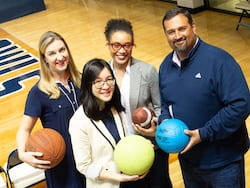 Rice kinesiologists found specific health deficits in home-schooled adolescents compared to their peers in public schools. Co-authors of a new study, from left: Laura Kabiri, Cassandra Diep, Amanda Perkins-Ball and Augusto Rodriguez. (Credit: Jeff Fitlow/Rice University)