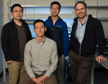Rice University engineers have introduced the first neural implant that can be programmed and charged remotely with a magnetic field. From left, Kaiyuan Yang, Zhanghao Yu, Joshua Chen and Jacob Robinson. (Credit: Jeff Fitlow/Rice University)