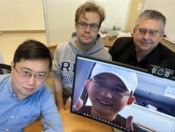 Rice University researchers have further simplified their process to make essential precursor molecules for drug discovery and manufacture. From left: Zhe Zhou, Juha Siitonen, Qing-Qing Cheng (on screen) and László Kürti. (Credit: Kürti Research Group/Rice University)
