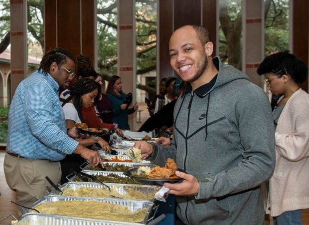 First-year Ph.D. student Tarence Rice, Jr. said he appreciates events such as the Soul Food Luncheon that help encourage even closer bonds among students.