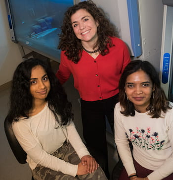 Rice University researchers -- including, from left, Sahiti Patibandla, Laura Segatori and Bhagyashree Bachhav -- have developed a versatile gene signal amplifier that detects the expression of chromosomal genes. (Credit: Jeff Fitlow/Rice University)