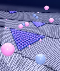 Scientists have achieved the long-sought goal of growing an ideal hexagonal boron nitride crystal by taking advantage of disorder among the meandering steps on a copper substrate, as reported in Nature. The random steps keep the hBN in line and make it useful as a dielectric for two-dimensional electronics. (Credit: Yakobson Research Group/Rice University)