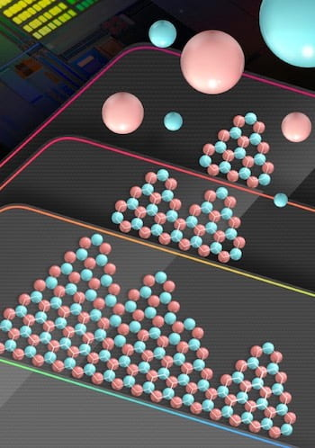 Atoms of boron and nitride align on a copper substrate to create a large-scale, ordered crystal of hexagonal boron nitride. The wafer-sized material could become a key insulator in future two-dimensional electronics. (Credit: Tse-An Chen/Taiwan Semiconductor Manufacturing Co.)