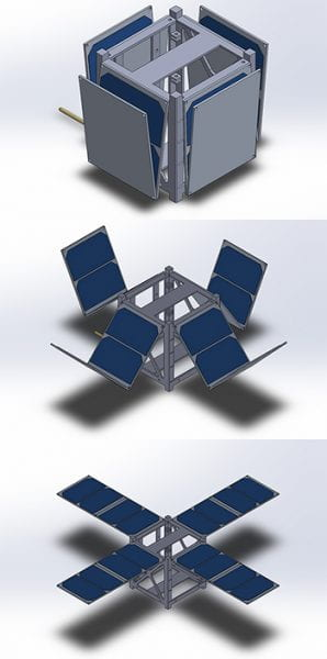 Artist's depiction of OwlSat, a small research satellite designed by Rice University students.