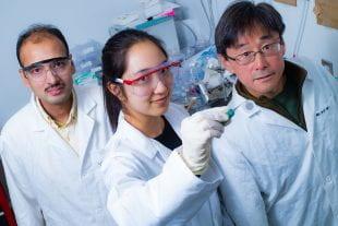 Rice University postdoctoral researcher Saunab Ghosh, graudate student Natsumi Komatsu and professor Junichiro Kono