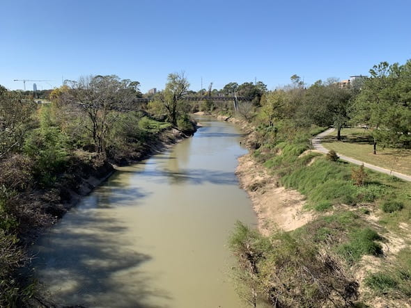 Buffalo Bayou. (Credit: Andrew Juan/Rice University)