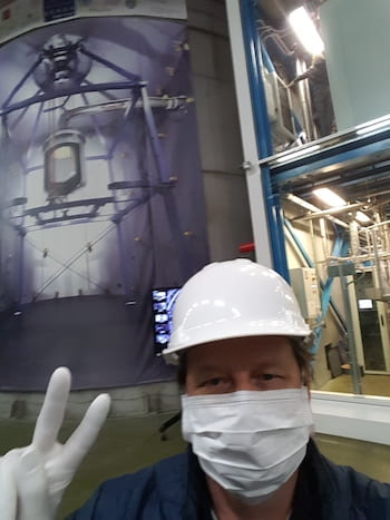 Petr Chaguine sends a sign home this week from the XENON Experiment, deep under a mountain in Italy. (Credit: Courtesy of Petr Chaguine)