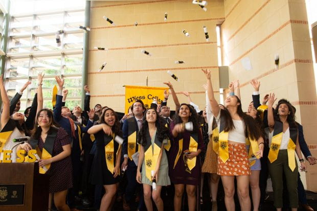 Wiess College held a mock commencement inside its commons.