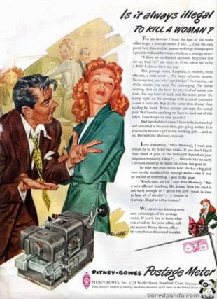 Faines showed this 1953 ad for a postage meter as one of many examples of negative portrayals of women in the medial.