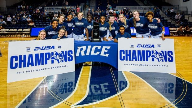 The Rice women's basketball team claimed the Conference USA regular season title March 7 at Tudor Fieldhouse. (Photo by Juan DeLeon)