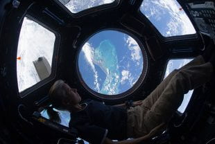 Astronaut Shannon Walker '87 looking out of the international space station's cupola on November 25, 2010.