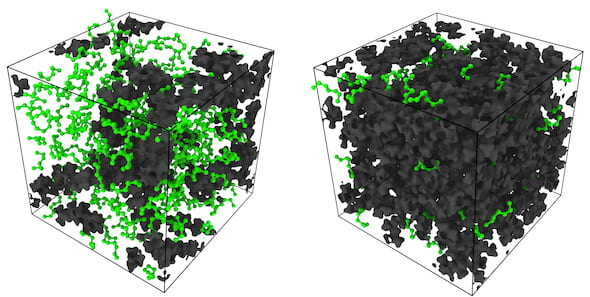 Simulation snapshots by Rice University engineers show n-heptane molecules (green) under different degrees of confinement in a polymer matrix of molecules (black), where the high viscosity polymer is a model for immature kerogen. The left panel shows molecules under extreme confinement and the right panel shows molecules that are relatively free. (Credit: Arjun Valiya Parambathu/Rice University)