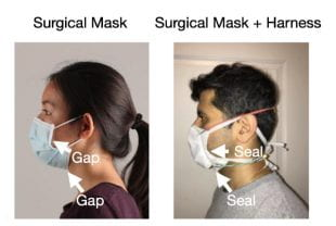 Side by side images show how a silicone rubber harness could allow a surgical mask to seal to the face.