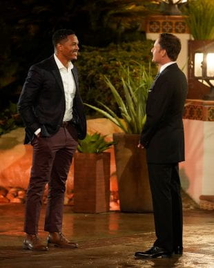 """Gabe Baker chats with Chris Harrison, host of """"The Bachelor Presents: Listen To Your Heart."""" Photo credit: ABC/John Fleenor"""