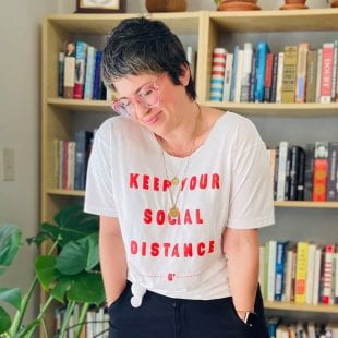 Rice Magazine art director Alese Pickering designed shirts to promote social distancing. Sales benefit the Houston Food Bank and Houston Shift Meal.