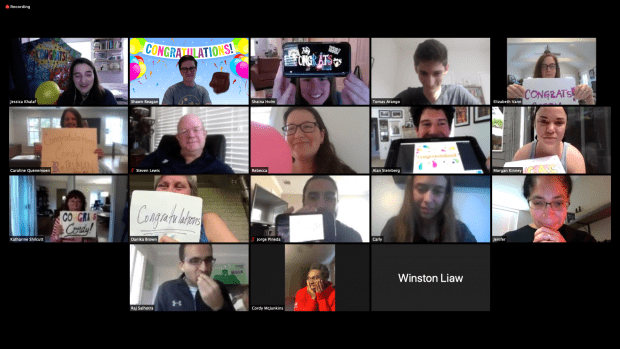 Jessica Khalaf, associate director of programs in the Center for Civic Leadership, organized a group Zoom call to surprise McJunkins with the good news March 9.