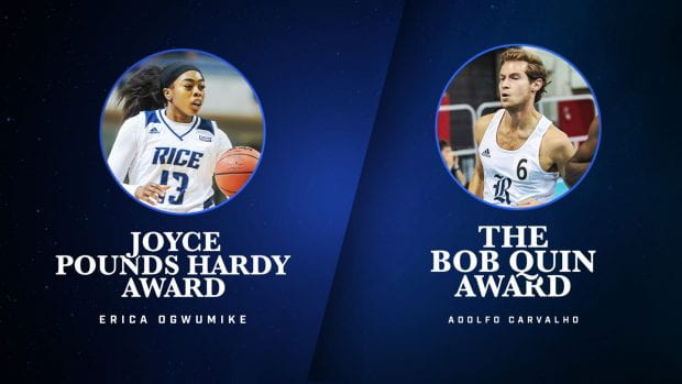 Erica Ogwumike and Adolfo Carvalho claimed the top honors during Night of the Owl. (Graphic courtesy of Rice Athletics)