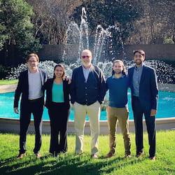 Team Live Long and Printer, from left: Colin Nyhus, Victoria Joshi, NASA project sponsor Mike Fiske, Oliver Lopez and Paraksh Vankawala. (Credit: Photo by Sabia Abidi/Rice University)