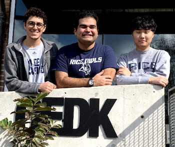 The Space Stuff team, from left: Nicolas Terrazas, Chad Fisher and Sang Bum Lee. (Credit: Rice University)