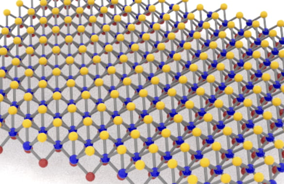 Monolayer Janus MoSSe, a compound of molybdenum, sulfur and selenium developed at Rice University, is adept at detecting biomolecules via surface-enhanced Raman spectroscopy. Its nonmetallic nature helps by curtailing background noise in the signal. (Credit: Lou Group/Rice University)