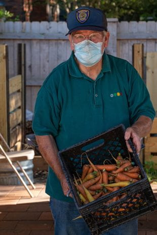 Garden manager Joe Novak has been dropping off each harvest at a local food pantry.