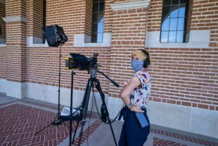 Grace Wickerson '20 sported a face mask while taping her speech at Lovett Hall.