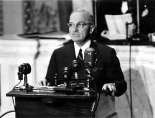 """President Harry S. Truman addressing a joint session of Congress asking for $400 million in aid to Greece and Turkey. This speech became known as the """"Truman Doctrine"""" speech."""
